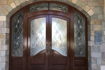 Encinitas home entry doors. Complete refinish and stain color change.