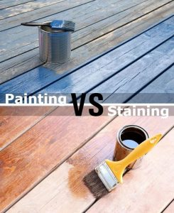 staining wooden decks